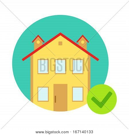 House Protected From Misfortune, Insurance Company Services Infographic Illustration. Vector Icon With Type Of Insurance Helping People To Protect Their Property.