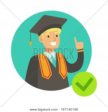Student In Graduation Mantle, Insurance Company Services Infographic Illustration. Vector Icon With Type Of Insurance Helping People To Protect Their Property.