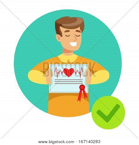 Smiling Guy Holding Health Insurance Contract, Insurance Company Services Infographic Illustration. Vector Icon With Type Of Insurance Helping People To Protect Their Property.