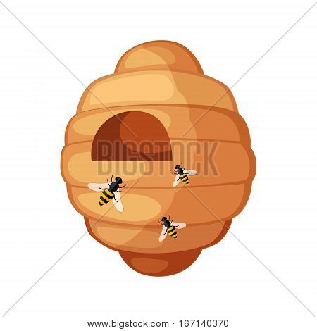 Beehive With Bees Flying Around Cartoon Illustration. Cute Colorful Honey Related Vector Sticker Isolated On White Background.