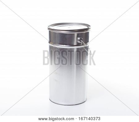 Metal Painting Pail Isolated On White, (clipping Work Path Included).
