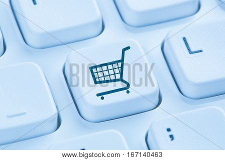 Online Shopping E-commerce Ecommerce Internet Shop Concept Blue Computer Keyboard