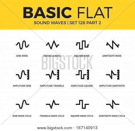 Basic set of square wave cycle, sine wave and sawtooth wave icons. Modern flat pictogram collection. Vector material design concept, web symbols and logo concept.