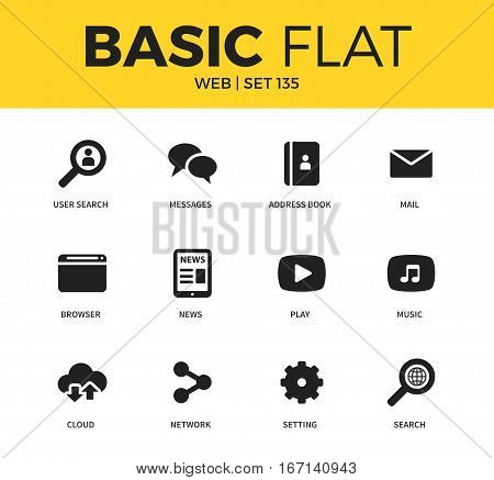 Basic set of user search, news and browser icons. Modern flat pictogram collection. Vector material design concept, web symbols and logo concept.