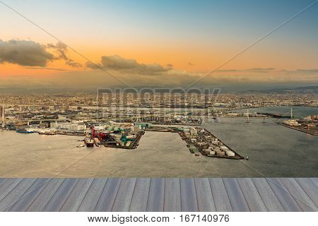 Opeing wooden floor Osaka port cityscape from Cosmo Tower Observatory Japan