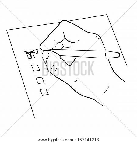 hand and pen mark on checklist on white background of monochrome vector illustrations