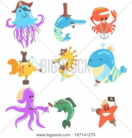 Marine Animals And Underwater Wildlife With Pirate And Sailor Accessories And Attributes Set Of Comic Cartoon Characters. Funny Vector Illustrations With Aquatic Life With Human Clothing Elements.