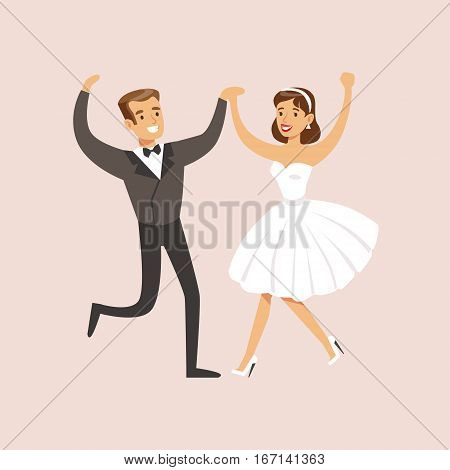 Newlyweds Dancing Rock-n-roll At The Wedding Party Scene. Cute Bride And Groom Couple In Classic Outfits Simple Vector Illustration On Pink Background.
