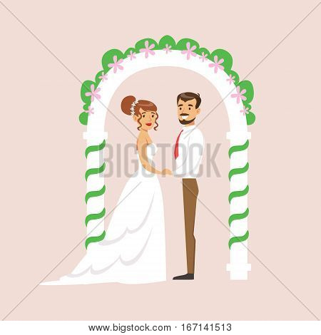 Newlyweds Standing At The Arch Of The Altar At The Wedding Party Scene. Cute Bride And Groom Couple In Classic Outfits Simple Vector Illustration On Pink Background.