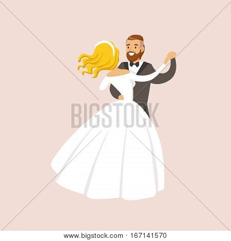 Newlyweds Dancing Waltz At The Wedding Party Scene. Cute Bride And Groom Couple In Classic Outfits Simple Vector Illustration On Pink Background.