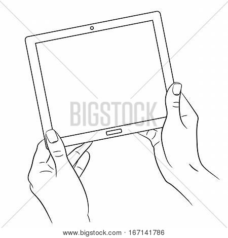 woman's hands holding a tablet on white background of monochrome vector illustrations