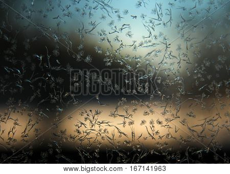 Winter window frosted ice texture pattern background