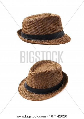Brown fedora hat isolated over the white background, set of two different foreshortenings