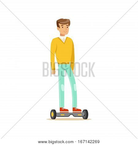 Man In Yellow Sweater And Jeans Riding Electric Self-Balancing Battery Powered Personal Electric Scooter Cartoon Character. Happy Person Using Modern Technology Gyro Vehicle Vector Illustration.