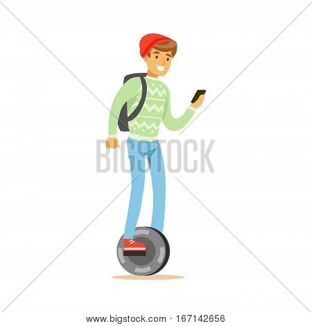 Student In Red Hat With BAckpack And Smartphone Riding Electric Self-Balancing Battery Powered Personal Electric Scooter Cartoon Character. Happy Person Using Modern Technology Gyro Vehicle Vector Illustration.