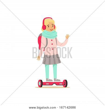 Little Girl With Backpack Riding Electric Self-Balancing Battery Powered Personal Electric Scooter Cartoon Character. Happy Person Using Modern Technology Gyro Vehicle Vector Illustration.
