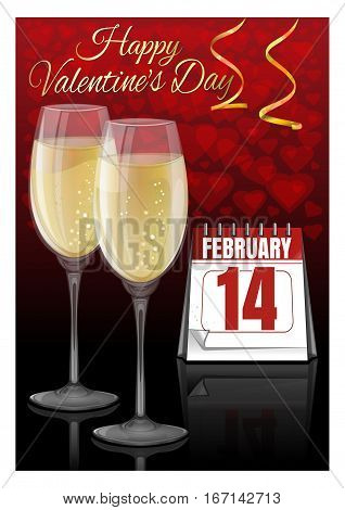 Greeting card for Valentine's Day. A pair of champagne glasses and a desk calendar with the date of February 14. Happy Valentine's Day. Vector illustration