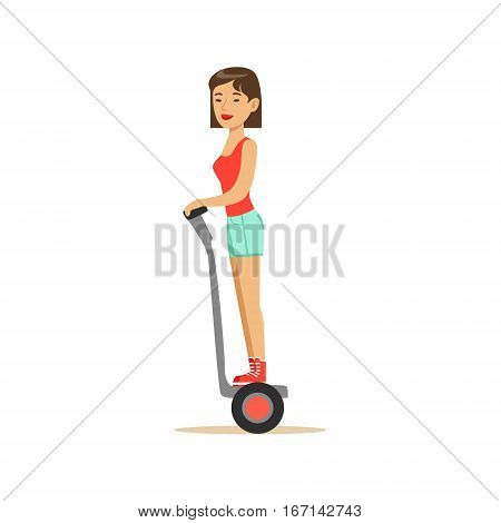 Woman In Summer Clothes Riding Electric Self-Balancing Battery Powered Personal Electric Scooter Cartoon Character. Happy Person Using Modern Technology Gyro Vehicle Vector Illustration.