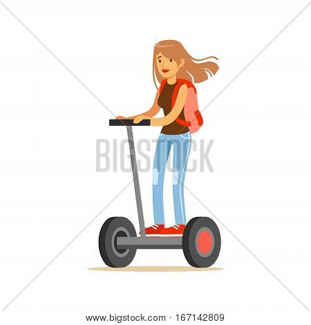 Student Girl With Backpack Riding Electric Self-Balancing Battery Powered Personal Electric Scooter Cartoon Character. Happy Person Using Modern Technology Gyro Vehicle Vector Illustration.
