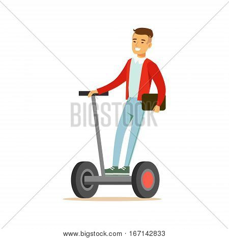 Asian Guy Businessman Riding Electric Self-Balancing Battery Powered Personal Electric Scooter Cartoon Character. Happy Person Using Modern Technology Gyro Vehicle Vector Illustration.