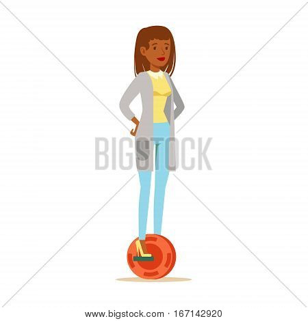 Woman In Cardigan And Jeans Riding Electric Self-Balancing Battery Powered Personal Electric Scooter Cartoon Character. Happy Person Using Modern Technology Gyro Vehicle Vector Illustration.