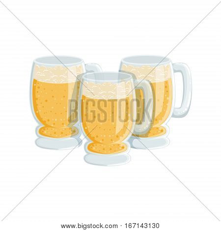 Three Pints Of Foamy Lager Beer, Oktoberfest Festival Drinks Bar Menu Item. German Beer Celebration Related Alcohol Drinks Assortment Vector Illustration.