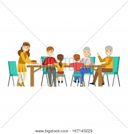 Happy Family Having Good Time Together Gathering And Eating Illustration. Household Members Enjoying Spending Time Together Vector Cartoon Drawing.
