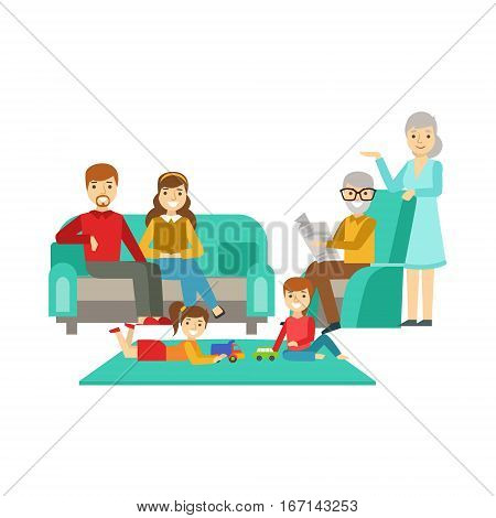 Parents And Grandparents Watching Kids Play, Happy Family Having Good Time Together Illustration. Household Members Enjoying Spending Time Together Vector Cartoon Drawing.