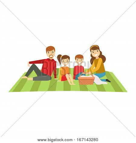 Parents And Kids Having Picnic, Happy Family Having Good Time Together Illustration. Household Members Enjoying Spending Time Together Vector Cartoon Drawing.
