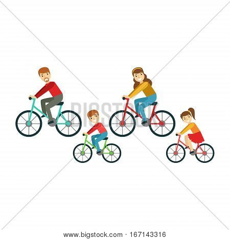 Parents And Kids Riding Bicycles In Park, Happy Family Having Good Time Together Illustration. Household Members Enjoying Spending Time Together Vector Cartoon Drawing.