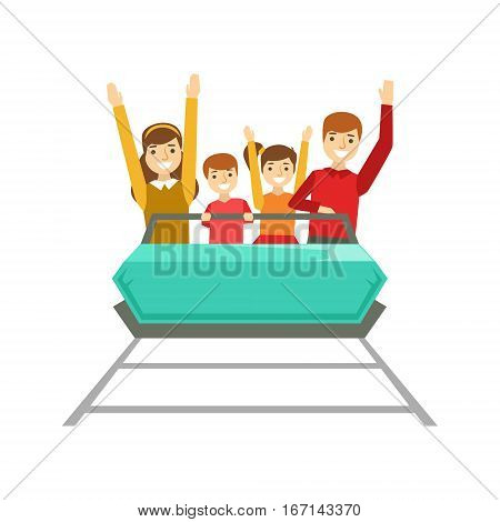 Parents And Kids Taking A Amusement Park Ride, Happy Family Having Good Time Together Illustration. Household Members Enjoying Spending Time Together Vector Cartoon Drawing.