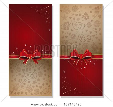 Romantic design. Romantic background with red ribbon and bow. Design elements for wedding, Valentine's Day and other romantic events. Vector flyer template
