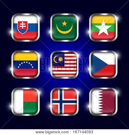 Set of world flags quadrangular glass buttons with steel border and twinkle ( Slovakia . Mauritania . Myanmar . Venezuela . Malaysia . Czech . Madagascar . Norway . Qatar ) poster