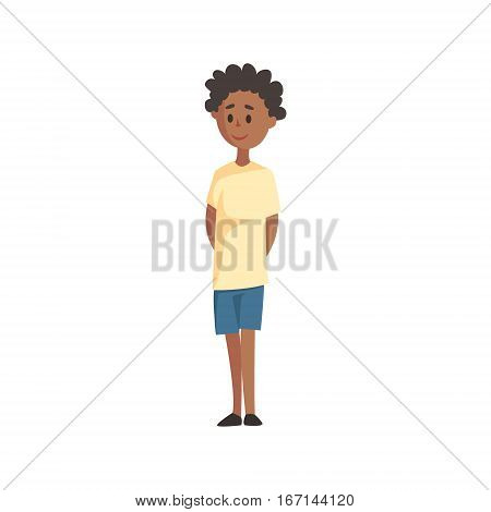 Shy Black Young Boy In T-shirt And Shorts, Part Of Family Members Series Of Cartoon Characters. Vector Illustration With A Person In Summer Clothes In Flat Cool Style.