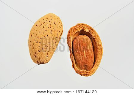 Almond nut in shell and shelled on white background close up