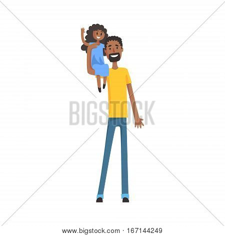 Father With A Little Daugter Sitting On His Shoulder, Part Of Family Members Series Of Cartoon Characters. Vector Illustration With A Person In Summer Clothes In Flat Cool Style.