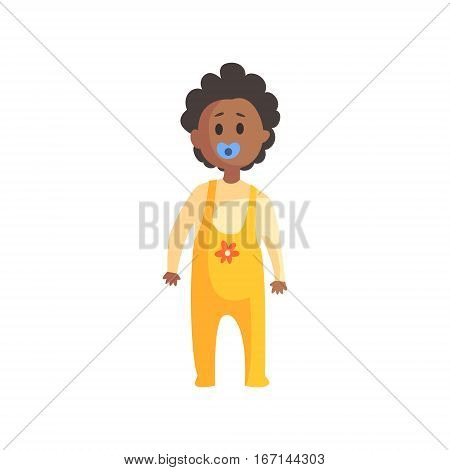 Toddler In Yellow Clothing With Dummy, Mouth Standing, Part Of Family Members Series Of Cartoon Characters. Vector Illustration With A Person In Summer Clothes In Flat Cool Style.
