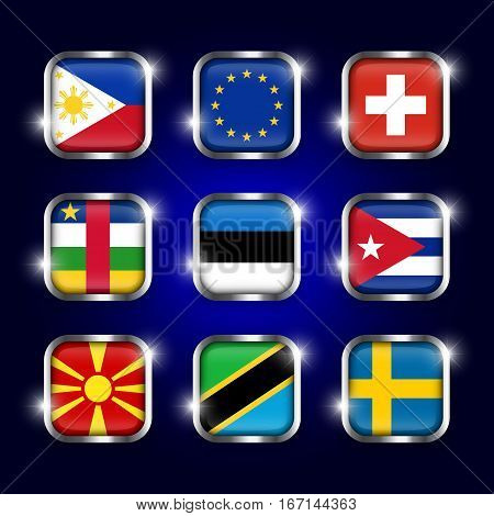 Set of world flag quadrangular glass button with steel border and twinkle (Philippines . European union (EU) . Switzerland . Central African Republic . Estonia . Cuba . Macedonia . Tanzania . Sweden )