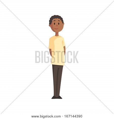 Teenage Black Boy In White T-shirt And Trousers Smiling, Part Of Family Members Series Of Cartoon Characters. Vector Illustration With A Person In Summer Clothes In Flat Cool Style.