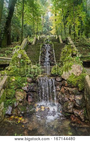 The staircase and waterfall in the fairy forest the Bussaco Portugal.