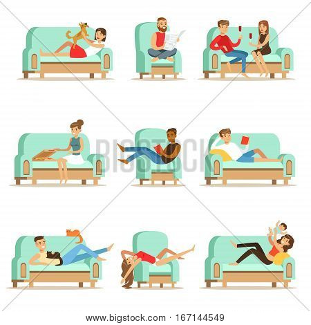 People Resting At Home Relaxing On Sofa Or Armchair Having Lazy Free Time And Rest Seris Of Illustrations. Weekend Indoors With Happy Men And Women Having Good Time.