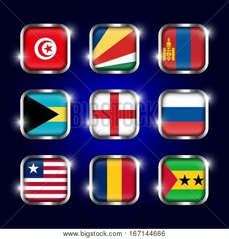 Set of world flags quadrangular glass buttons with steel border and twinkle ( Tunisia . Seychelles . Mongolia . Bahamas . England . Russia . Liberia . Chad . Sao Tome and Principe )