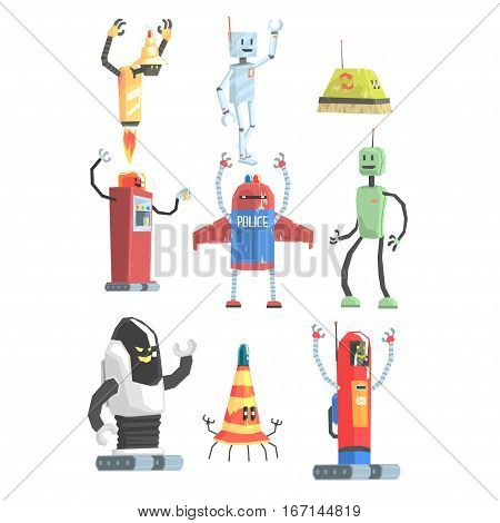 Different Design Public Service Robots Collection Of Colorful Cartoon Androids Isolated Drawings. Futuristic Artificial Intelligence Servant Automats Bright Color Childish Vector Illustrations.