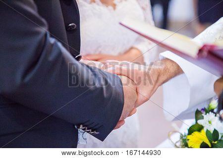 Bride and groom wedding in italian church