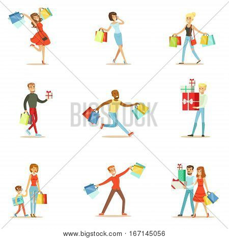 Shopaholic People Happy And Excited Running With Paper Shopping Bags Smiling Carton Characters Collection. Vector Illustrations With Man And Women Addicted To Shopping.