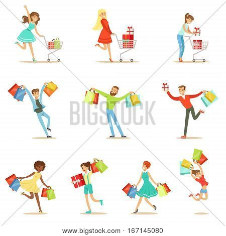 Shopaholic People Happy And Excited Running With Paper Shopping Bags Smiling Carton Characters Set. Vector Illustrations With Man And Women Addicted To Shopping.