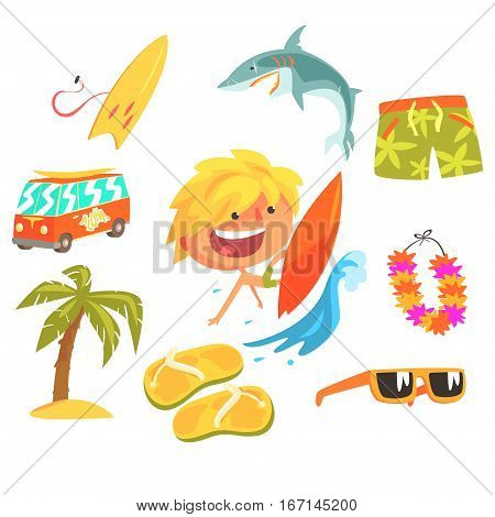 Boy Surfer Extreme Sportsman, Kids Future Dream Professional Occupation Illustration With Related To Profession Objects. Smiling Child Carton Character With Career Attributes Around Cute Vector Drawing.