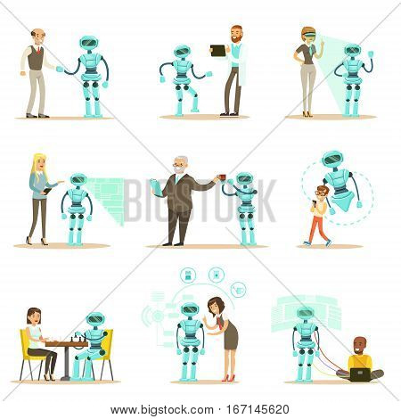 Smiling People And Robot Assistant, Set Of Characters And Service Android Companion. Futuristic Technologies And Technological Progress Vector Illustrations