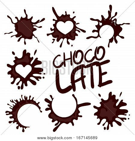 Collection realistic hot chocolate drop shape splash. Banner set hot chocolate dessert liquid splat. Vector illustration. Tasty trendy picture.