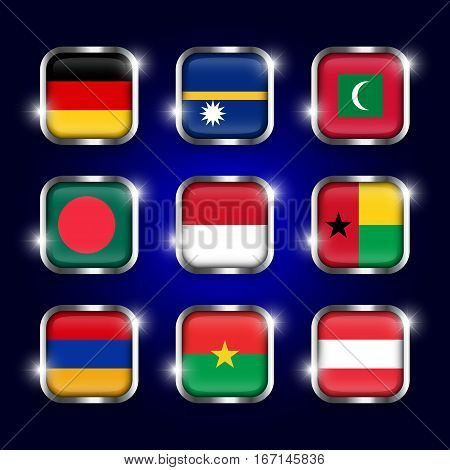 Set of world flags quadrangular glass buttons with steel border and twinkle ( Germany . Nauru . Maldives . Bangladesh . Indonesia . Guinea-Bissau . Armenia . Burkina Faso . Austria )